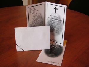 LA4-es négy oldalas gyászjelentés ingyen borítékkal